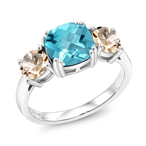 3.55 Ct Cushion Checkerboard Swiss Blue Topaz Peach Morganite 925 Silver Meghan Ring