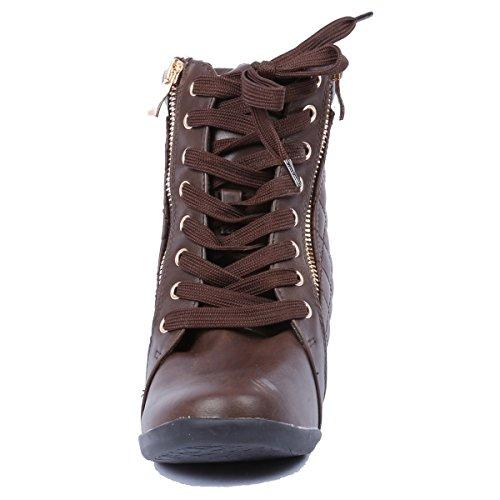 Coshare Alltid Länka Kvinnor Mode Gladys-25 Läder Pu Snörning Vadderade Ankel Hög Kil Sneakers Brun