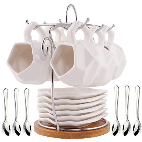 SOPRETY White Porcelain Coffee Cups and Saucers Sets Ceramic Coffee Cups and Saucers Set of 6 Coffee and Tea Mug Set with Rack for Home Office and Coffee Bar with 6 Bonus Spoons -