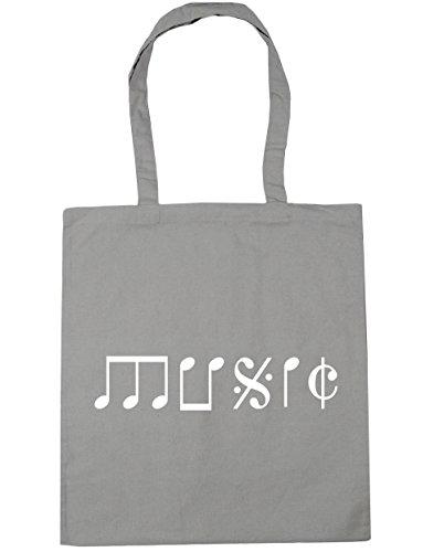 HippoWarehouse Music Note Type Tote Shopping Gym Beach Bag 42cm x38cm, 10 litres Light Grey