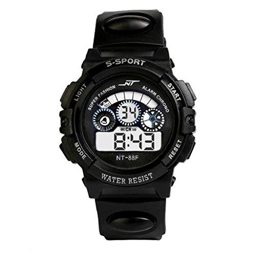 Waterproof Digital LED Watch Hosamtel Mens Boy's Quartz Alarm Date Sports Wrist Watch (Black)