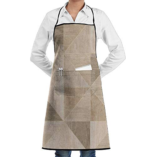 LOGENLIKE Wood Material Kitchen Aprons, Adjustable Classic Barbecue Apron Baker Restaurant Black Bib Apron With Pockets For Men And Women