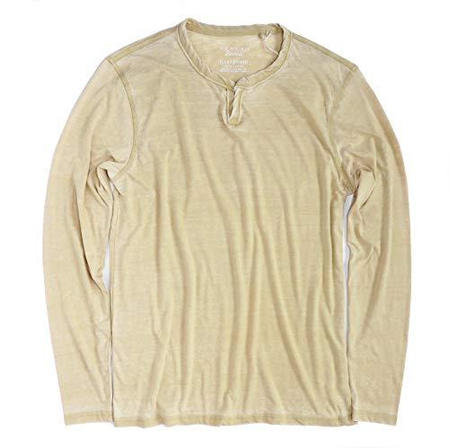 Lucky Brand Mens Venice Burnout Notch Ringer Long Sleeve Shirt Pompeian Red