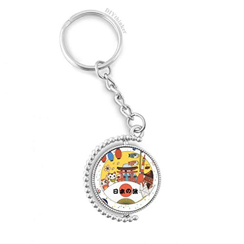 Traditional Japanese local cultural Rotatable Key Chain Ring Keyholder