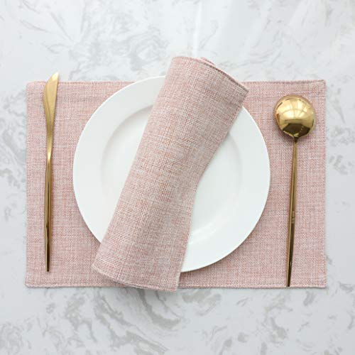 HOME BRILLIANT Placemats Set of 4 Heat Resistant Dining Table Place Mats for Kitchen Table, 13 x 19 inches, Pink