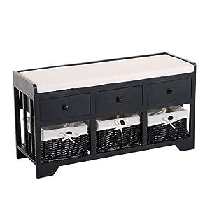 HOMCOM 3-Drawer 3-Basket Padded Storage Bench