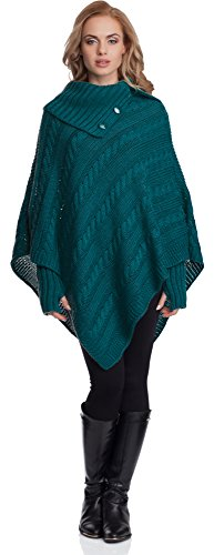 Merry Style Mujer Poncho Noemi Verde Oscuro