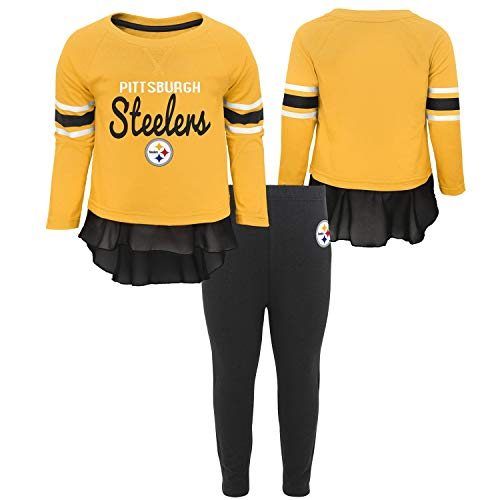 Outerstuff NFL Pittsburgh Steelers Toddler Mini Formation Long Sleeve Top & Legging Set Gold, 4T (Pittsburgh Steelers Outfit)