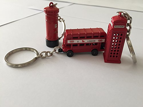 Taxi Cast - Souvenir Gift Set of Four Metal London Keyrings with Bus & Taxi