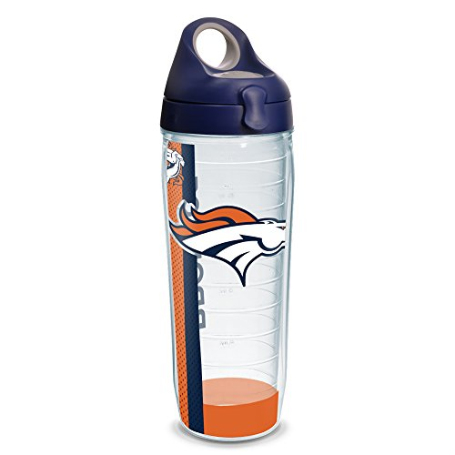 Tervis 1231113 NFL Denver Broncos Stripe Tumbler with Wrap and Navy with Gray Lid 24oz Water Bottle, Clear