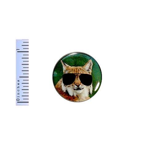 Funny Bobcat Button Pin Wearing Sunglasses Cop Glasses Random Humor 1