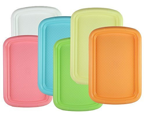 Tzipco's Durable Plastic Rectangular Serving Tray / Fast Food Plate, 15