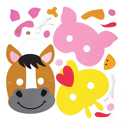 Baker Ross Farm Animal Colour in Mask Kits (Pack of 4) Assorted Farm Animal Masks for Kids to Decorate and Wear to Party's or Dressing Up]()