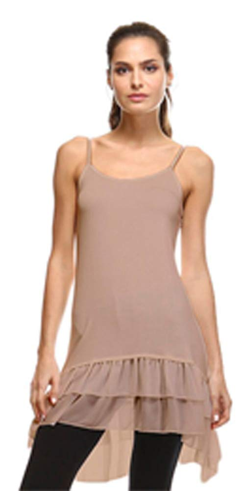 Stay Warm in Style Cotton-Blend Layering Top Extender Camisole and Chiffon High-Low Extenders (XXL, Taupe Chiffon)
