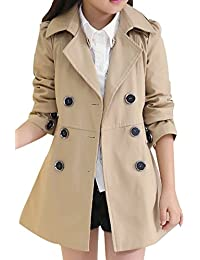 Girl Child Kid Lapel Double Breasted Outwear Pea Trench Coat