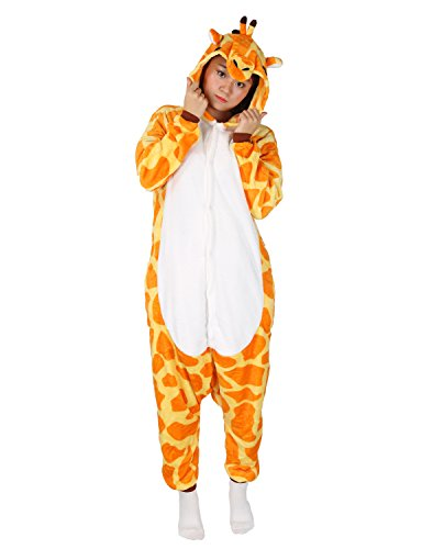 Giraffe Onesie Adult Animal Pajamas Unisex Sleepwear Kigurumi Cosplay Halloween (Cute Animal Halloween Costumes Ideas)