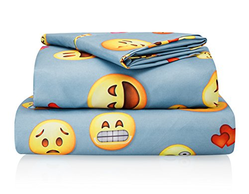 Chital Emoji Sheet Set - Kids' Sheets - Includes a Flat Sheet, a Fitted Sheet & a Pillow Case - Super Soft Microfiber Sheet Set - Wrinkle-free Linen Cot Bed Sheets , (Cot Size)