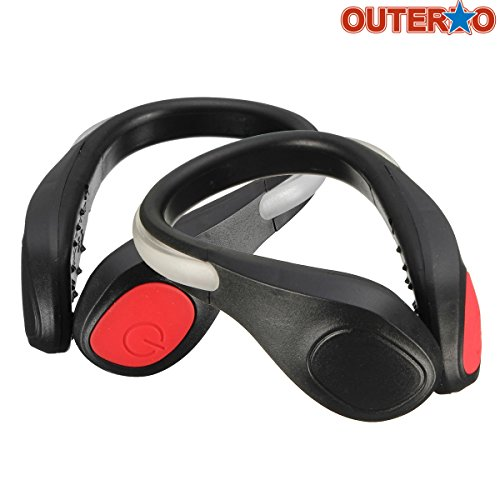 OUTERDO 1 Pair LED Luminous Outdoor Sport Flashing Safety Warning Lights Shoe Clip Reflective Lights For Runners Joggers Walkers Biker Black red light