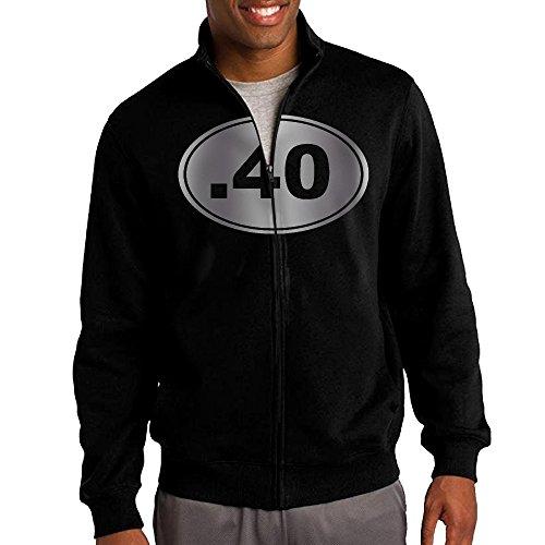 Men 40 Bullet Gun 40 Cal Platinum Style Zip-up Jacket Sweatshirt Black