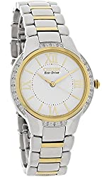 Citizen Eco-Drive Ladies Cienna Genuine Diamond Two Tone Stainless Steel Watch EM0094-56A