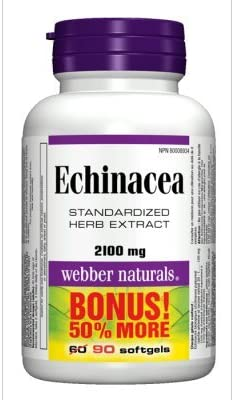 Webber Naturals Echinacea Standardized Herb 8 1 Extract, 2100mg, 90 Softgels Bonus