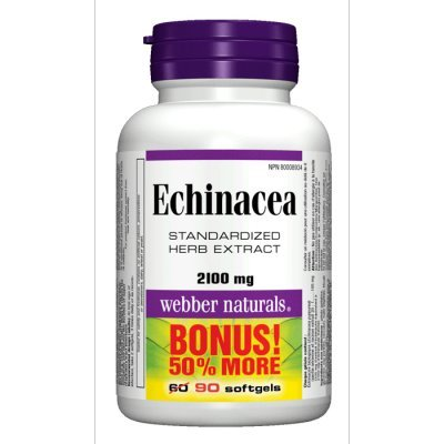 Webber Naturals Echinacea Standardized Herb 8:1 Extract, 2100mg, 90 Softgels Bonus