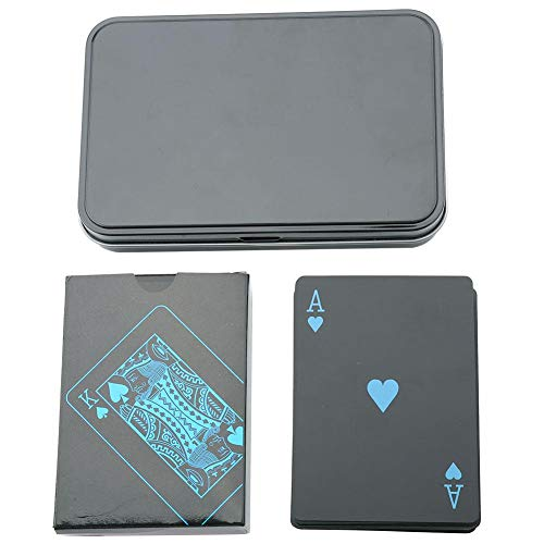 - Playing Cards Sets, PVC Poker Waterproof Black Plastic Game Card for Travel Swimming (Iron Box Packaging)