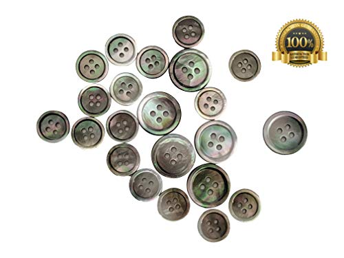 Set of 22 Premium Iridescent Gray Genuine Tahitian Mother of Pearl (MOP) Buttons for Sport Coats, Blazers, and Suit Jackets (22)