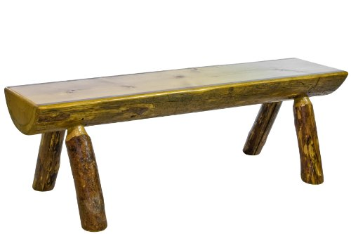 (Montana Woodworks MWGCHLB5 Glacier Country Collection Half Log Bench, 5-Feet)