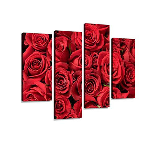 Several red Roses Wallpaper Background Canvas Wall Art Hanging Paintings Modern Artwork Abstract Picture Prints Home Decoration Gift Unique Designed Framed 4 Panel