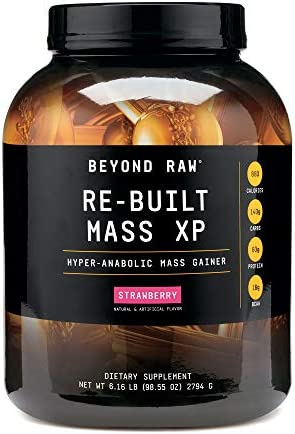 Beyond Raw Re-Built Mass XP Strawberry, 6 lbs, Contains 880 Calories, 140g Carbohydrates and 60g Protein Per Serving