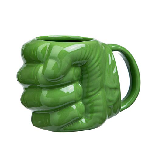 (FLY SPRAY Hulk's Fist Shaped Coffee Mug Ceramic Funny Sculptured Novelty Unique Cool Drinks Cup for Juice Milk Or Tea Idea 17 oz)
