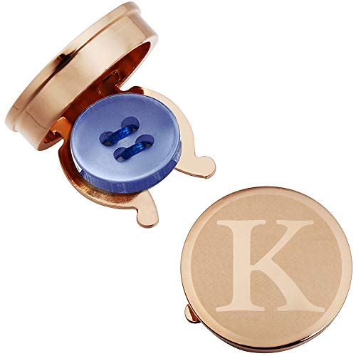 HAWSON Rose Gold Letter Button Cover Cufflinks for Men Initial and Impressing Alphabet A-Z - Best Choice for Weddling Gift K
