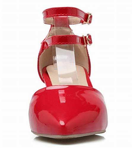 Gmmlb010481 Pelle Agoolar Maiale Tacco Puro Donna Fibbia Medio Rosso Sandali Di pwqUxZwz