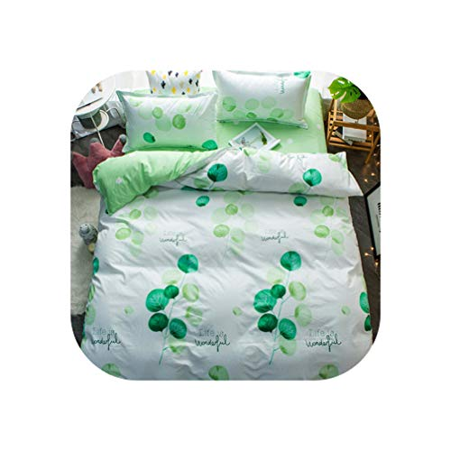 - QianQianStore Bedding Set Summer Fruit Duvet Cover Queen King Nordic Style Bedding Bed Linen Grey Flat Sheet Blue Bedclothes Super King bedset,Beatiful Green,3pcs Twins Size