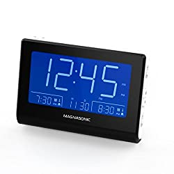 Magnasonic Alarm Clock Radio with Battery Backup, Dual Gradual Wake Alarm, Adjustable Brightness, Daylight Savings Time, Large 4.8 LED Display, AM/FM, Sleep Timer, Day/Date Display (CR61W)