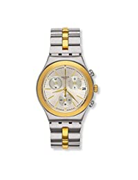 SWATCH MEN'S 40MM TWO TONE STEEL BRACELET SWISS QUARTZ ANALOG WATCH YCS592G