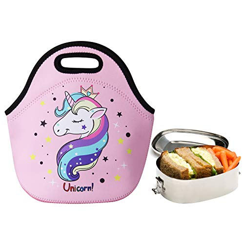 3b1a1cc8adab Cute Unicorn Lunch Bag for Kids, Waterproof Insulated Neoprene Lunch Tote  with Zipper for School Work Outdoor