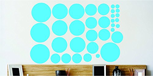 Design with Vinyl Cont 182 1 Polka Dots Circle Design Home Decor Vinyl Wall Decal Sticker, 16 by 20-Inch, Blue