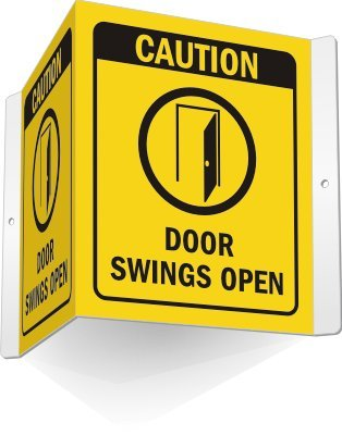 Amazon Com Caution Doors Swings Open With Symbol Sign 5