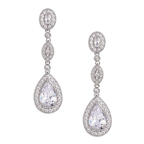 SWEETV Cubic Zirconia Teardrop Wedding Bridal Earrings for Women,Bridesmaids,Brides - Crystal Rhinestones Dangle Earrings Jewelry,Silver ()