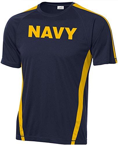 Military Wicking Moisture T-shirt - Joe's USA - Military T-Shirts - Navy Logo Moisture Wicking Shirts. XL