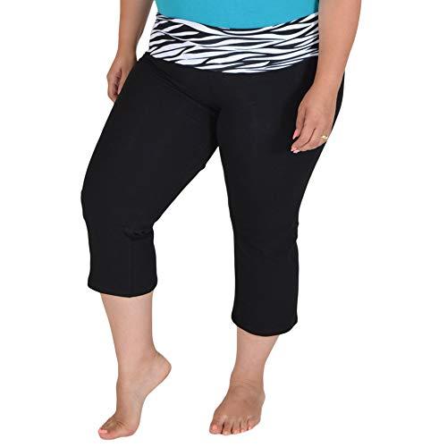 Stretch is Comfort Women's Plus Size Capri Yoga Pants Zebra XXL (Zebra Yoga Pants)