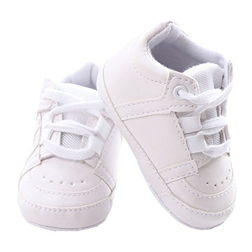 Baby Soft Sole Lace-up Sneaker Infant Casual Early Walking Shoes Crib Shoes Size M White