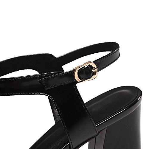 con Tobillo de Seven Puntiagudos Cuero Grueso Nine Zapatos negro Mujer de Tacón Moda para de Correa qwTpz