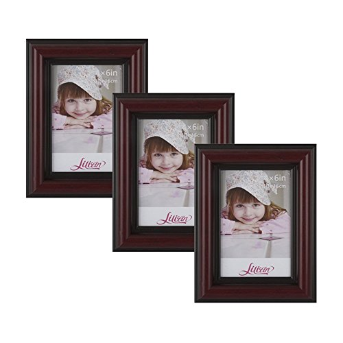 Lilian Wood-like Deep Dark Brown with Red Display 5x7 Desk/Wall Photo Frame - Wall Mounting Material Included(3-Pack)