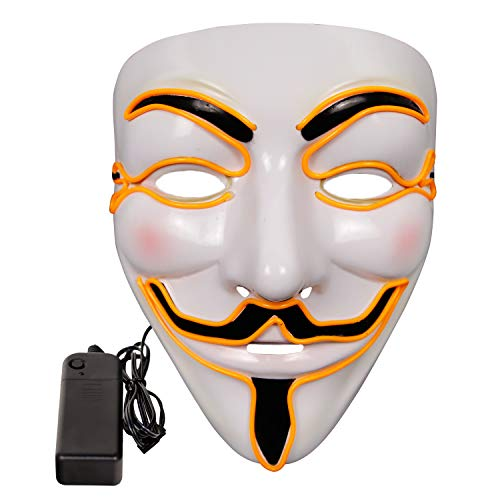 molezu LED Light Up V for Vendetta Mask, Halloween Costume Cosplay Party Mask, EL Wire Glowing Anonymous Guy Fawkes Mask -