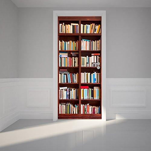 Door Wall Sticker Bookshelf - Self Adhesive Peel u0026 Stick Repositionable Fabric Mural 31 w x 79 h (80 x 200cm) & Book Shelf Door: Amazon.com