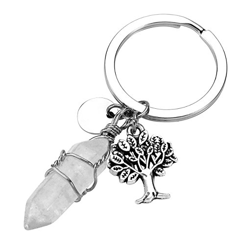 JOVIVI Clear Crystal Quartz Hexagonal Gemstone Wire Wraped Crystal Healing Point Chakra Pendant Keychain Silver Tree of Life Charm Keyring ()
