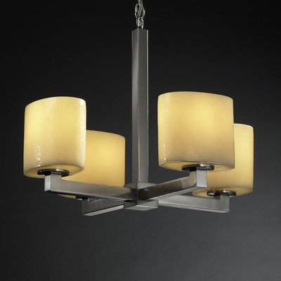 (Justice Design Group CNDL-8829-30-AMBR-DBRZ 4 Light Up Lighting Chandelier from The CandleAria Collection)